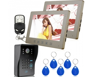 1V2 10inch Video Door Phone Doorbell Intercom System Unlock Via RF Card and Password   PY-V1001MJIDS12
